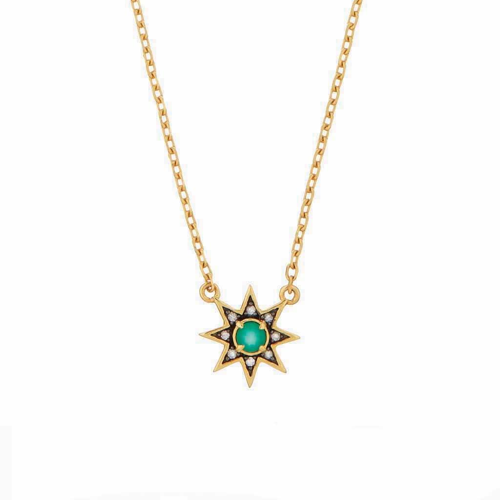 Emerald & Diamond Pave Star Necklace In Gold Vermeil