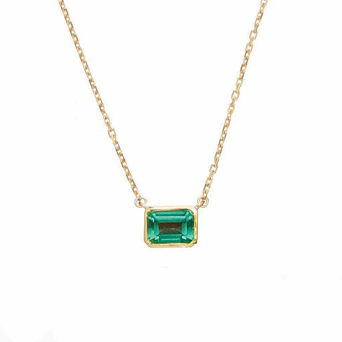 14k Gold Vermeil Supernova Fern Green Topaz Necklace
