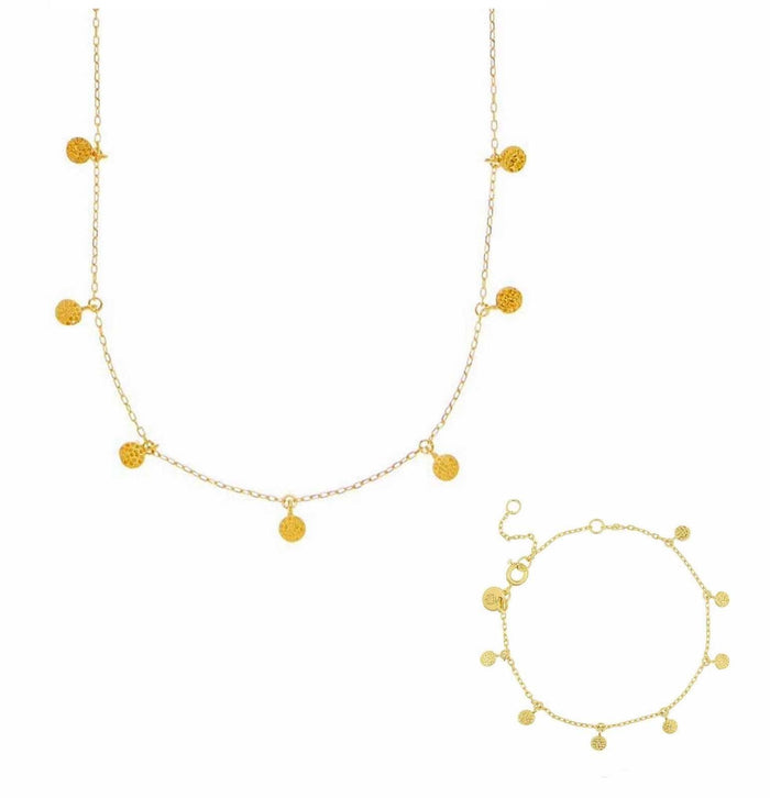14k Gold Vermeil Mini Hanging Coin Necklace & Bracelet Set