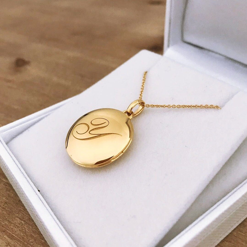 14k Gold Vermeil Engraved Initial Locket Necklace with Diamond Detail Necklace VJI Gold Vermeil Y