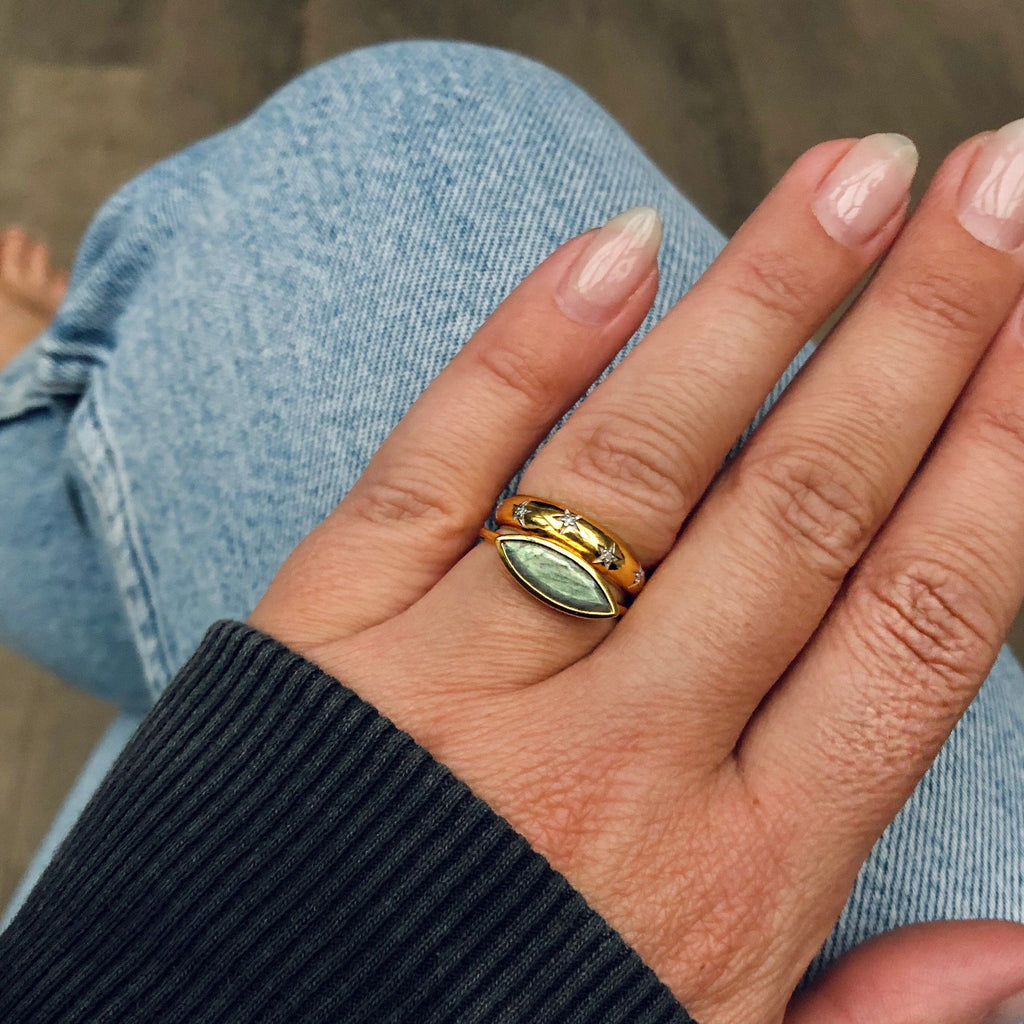 14k Gold Vermeil Contemporary Stacking Ring in Labradorite Ring Pink City