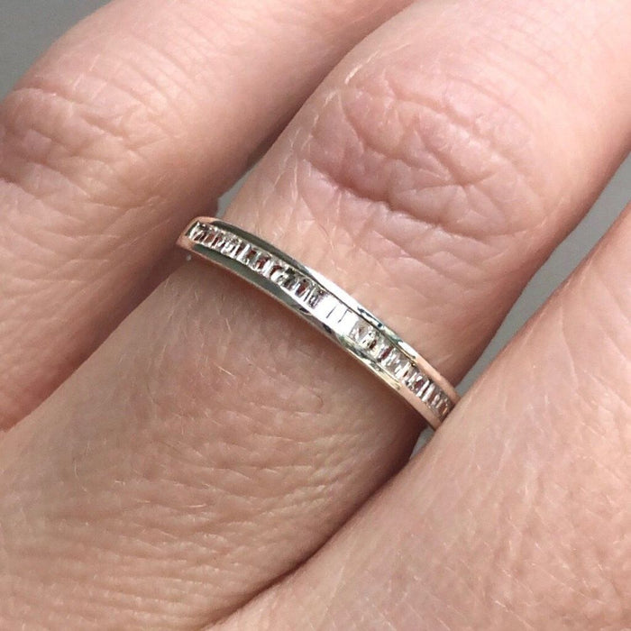 14k Solid White Gold Baguette Cut Diamond Band Ring VJI