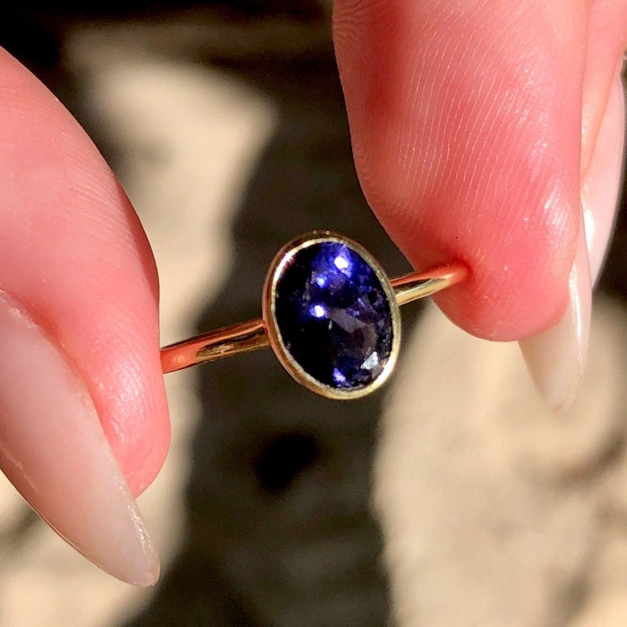 14k Gold Vermeil Iolite Oval Rose Cut Ring Ring Dwarkas