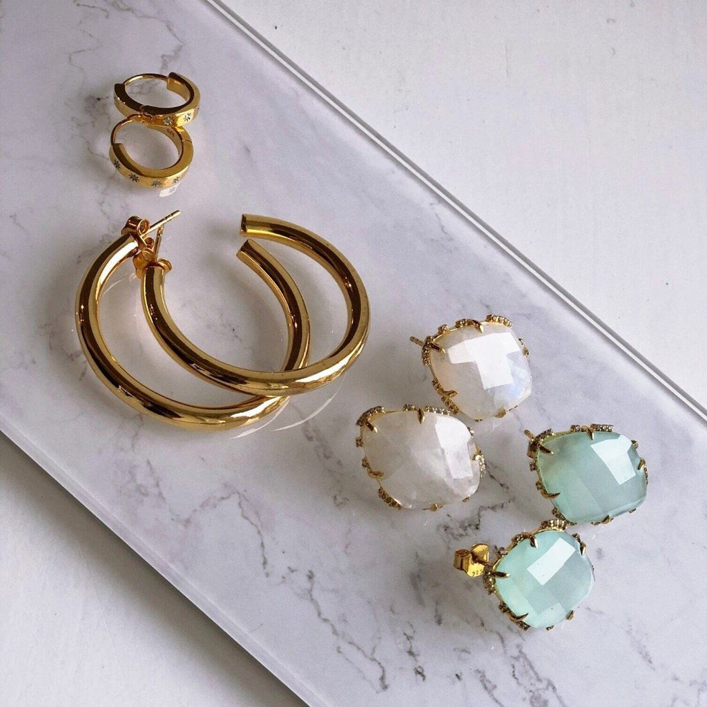 Star Set Diamond Hugging Hoops In Gold Vermeil
