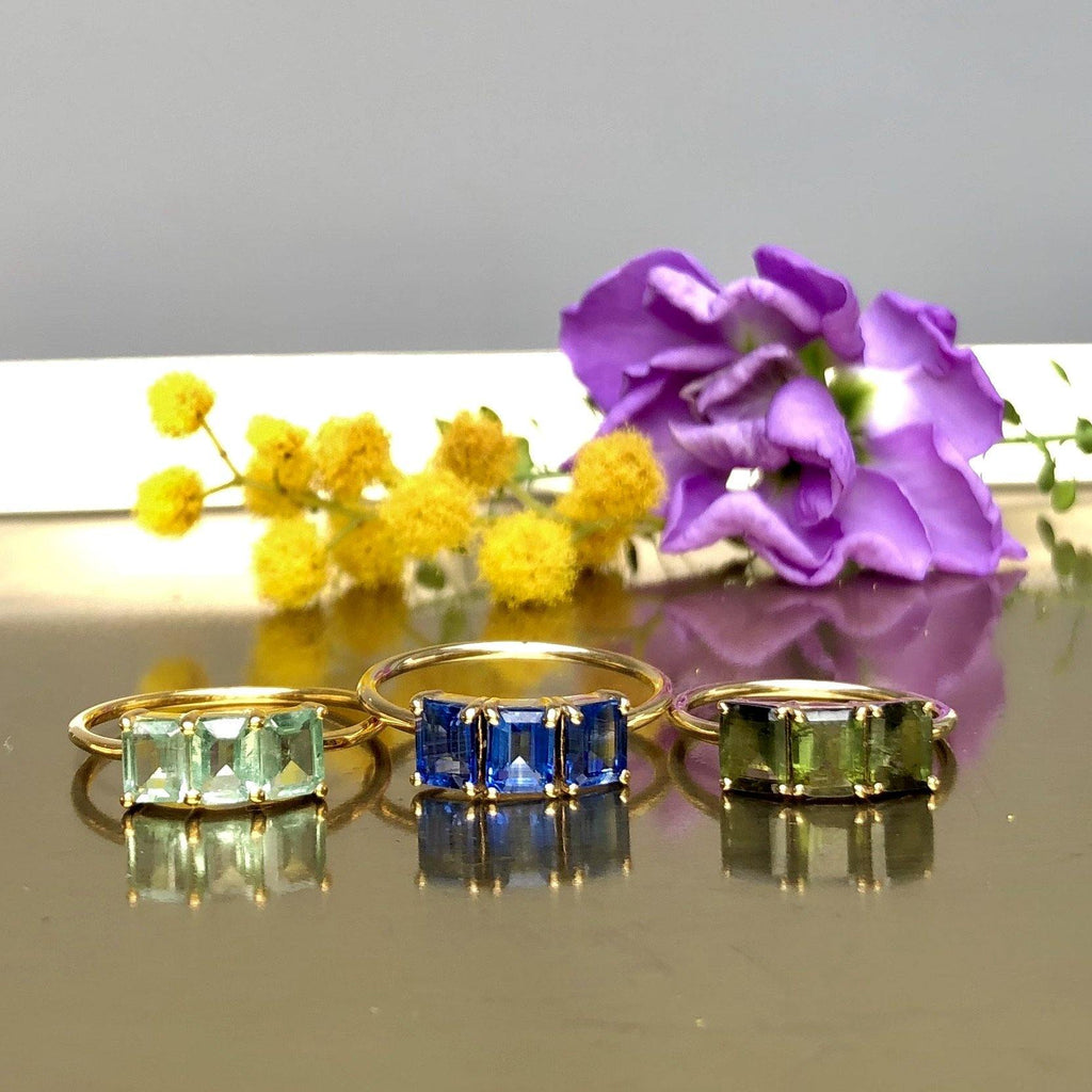 Deco Emerald Cut Mint Kyanite Ring In 9k Solid Yellow Gold