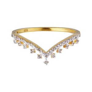 14k Gold Vermeil Tiara Diamond Band Ring uv overseas