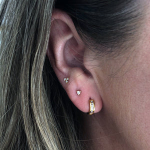 14k Gold Vermeil Baguette Diamond Hugging Hoops  Diamond, earrings, Gold, hoops, metal-14k-gold-vermeil, New In, over-80