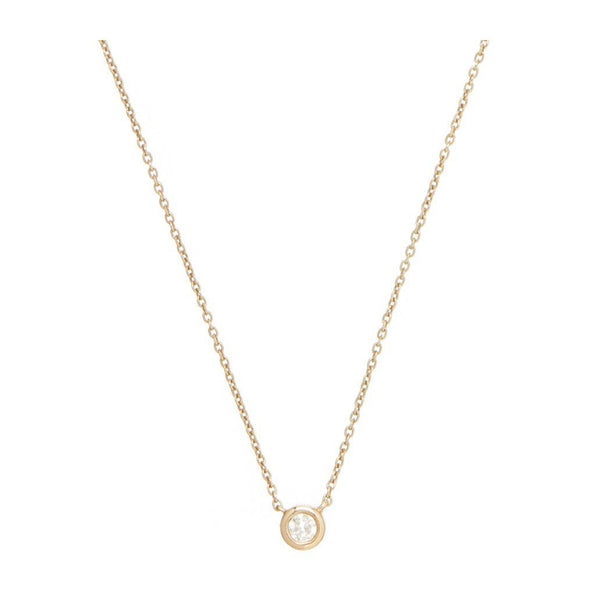 9K Solid Yellow Gold Diamond Solitaire Necklace