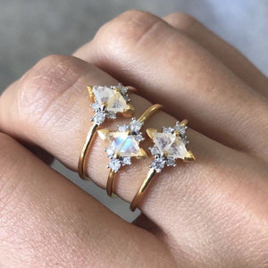 14k Solid Gold Luna Statement Ring in Moonstone & Diamond Ring uv overseas
