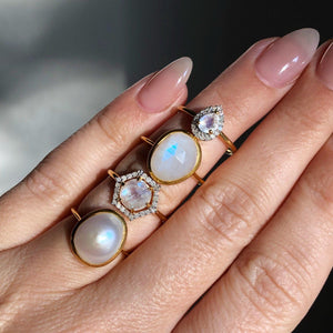 Simple Semi Precious Moonstone Ring in Gold Vermeil