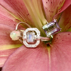 Sterling Silver Ethereal Diamond Halo Ring in Moonstone Ring PINK CITY