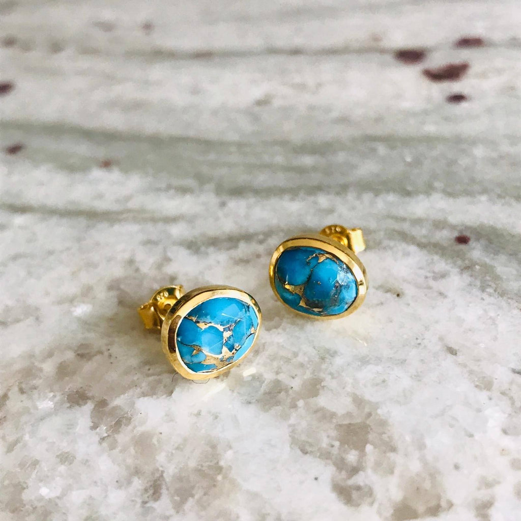 14k Gold Vermeil  Copper Turquoise Stud Earrings  Best Seller, earrings, Gold, Organic, over-80, Semi Precious, Studs, Turquoise