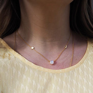 14k Gold Vermeil Dream Catcher Necklace with Rainbow Moonstone Necklace uv overseas