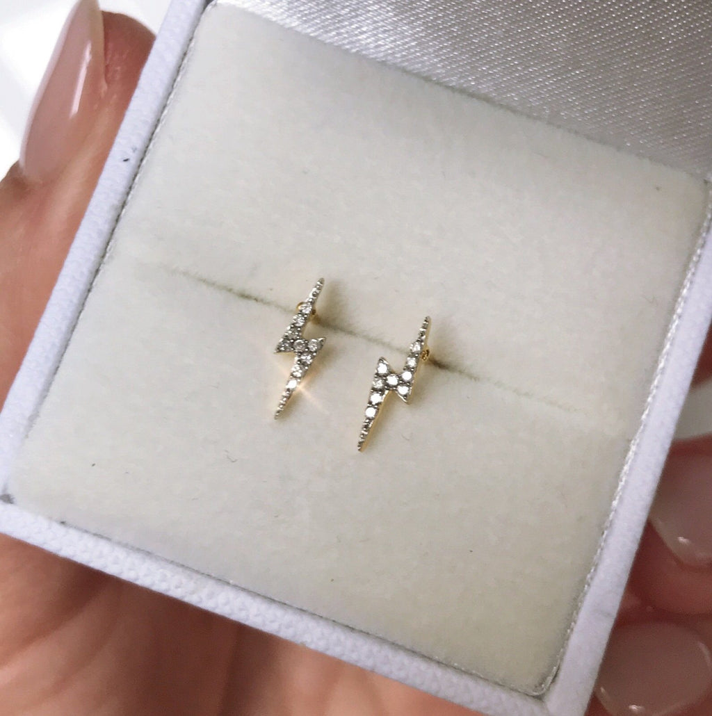 14k Gold Vermeil Lightning Bolt Diamond Stud Earrings  Best Seller, Diamond, earrings, Gold, Meaningful, metal-14k-gold-vermeil, over-80, Studs, Valentines