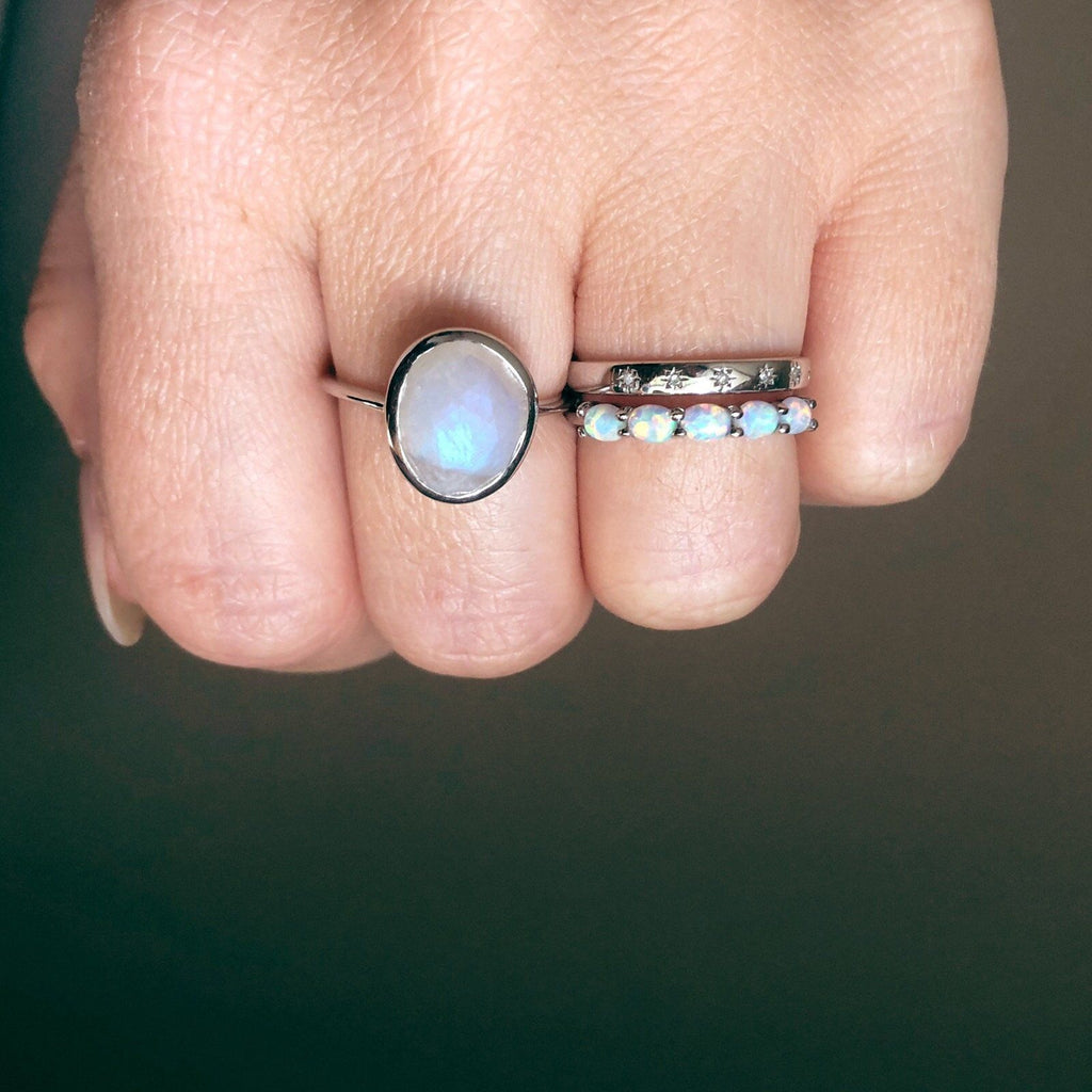 Sterling Silver Orbit Ring in White Opal Ring uv overseas