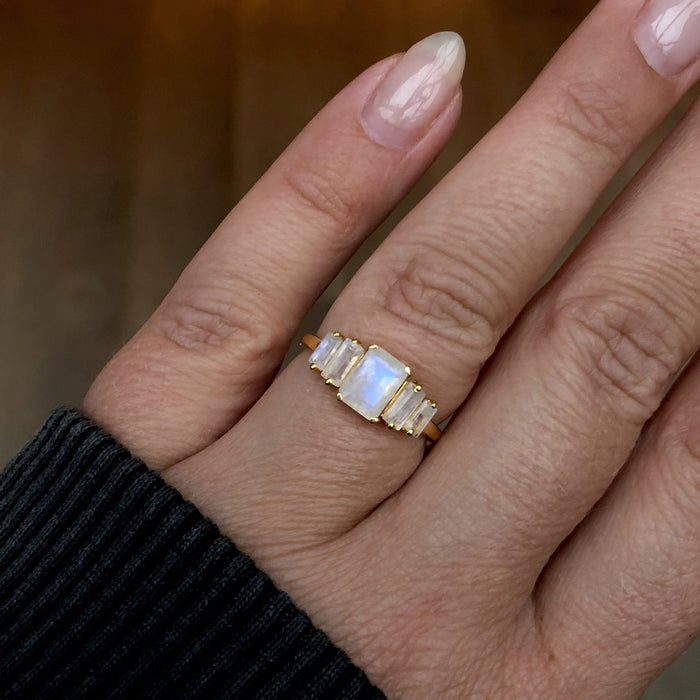 9k Solid Gold Moonstone Deco Ring