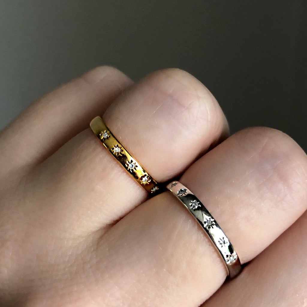 Sterling Silver Simple Star Set Diamond Band Ring Dwarkas