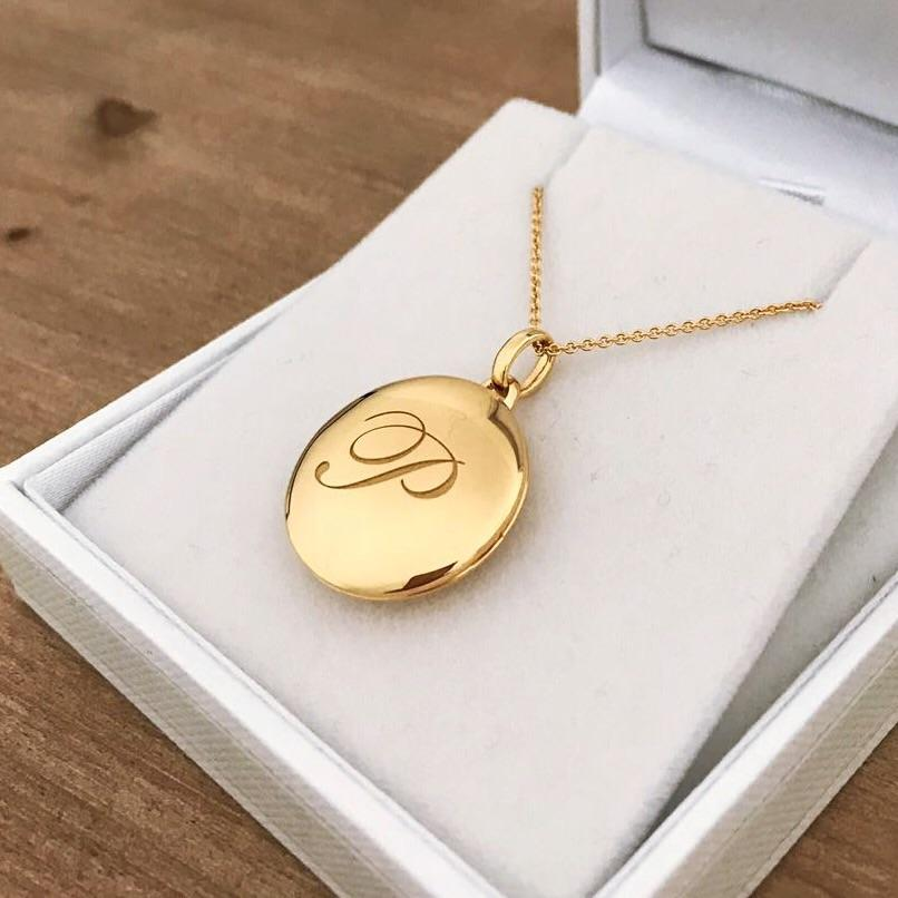 14k Gold Vermeil Engraved Initial Locket Necklace with Diamond Detail Necklace VJI Gold Vermeil P