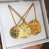 "14k Gold Vermeil Heirloom Coin Necklace 130.00 20""+, Best Seller, Gold, necklace, over-80"