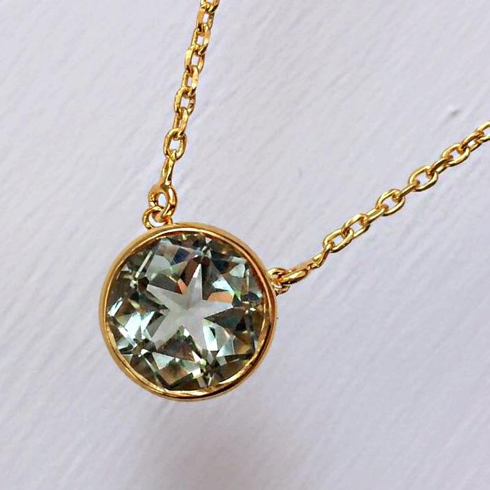 14k Gold Vermeil Lone Star Pendant in Green Amethyst Necklace Malya
