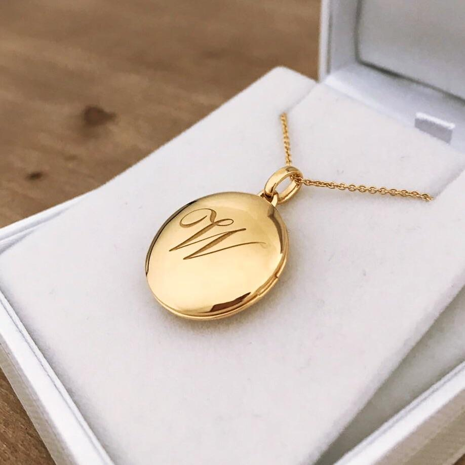 14k Gold Vermeil Engraved Initial Locket Necklace with Diamond Detail Necklace VJI Gold Vermeil W