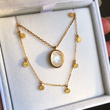 14k Gold Vermeil Semi Precious Stone Pendant in Moonstone Necklace Malya