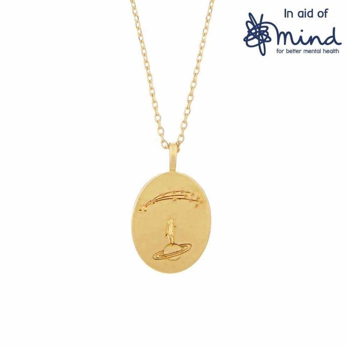 14k Gold Plated Stargazing Oval Coin Necklace