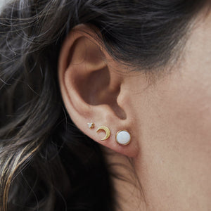 Round Opal Stud Earring In 9k Solid Gold