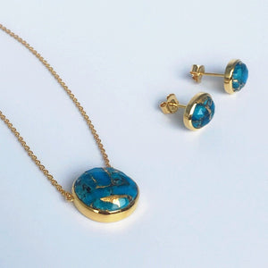 14k Gold Vermeil Semi Precious Stone Pendant & Earring Set in Copper Turquoise Necklace Malya