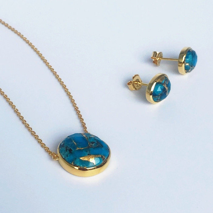 14k Gold Vermeil Semi Precious Stone Pendant & Earring Set in Copper Turquoise  Gold, necklace, Necklace Set, New In, over-80, Turquoise