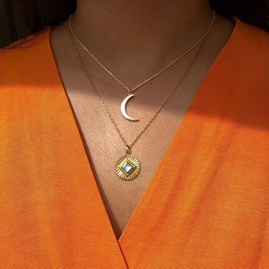 14k Gold Vermeil Moonstone Sunray Coin Pendant Necklace Dwarkas