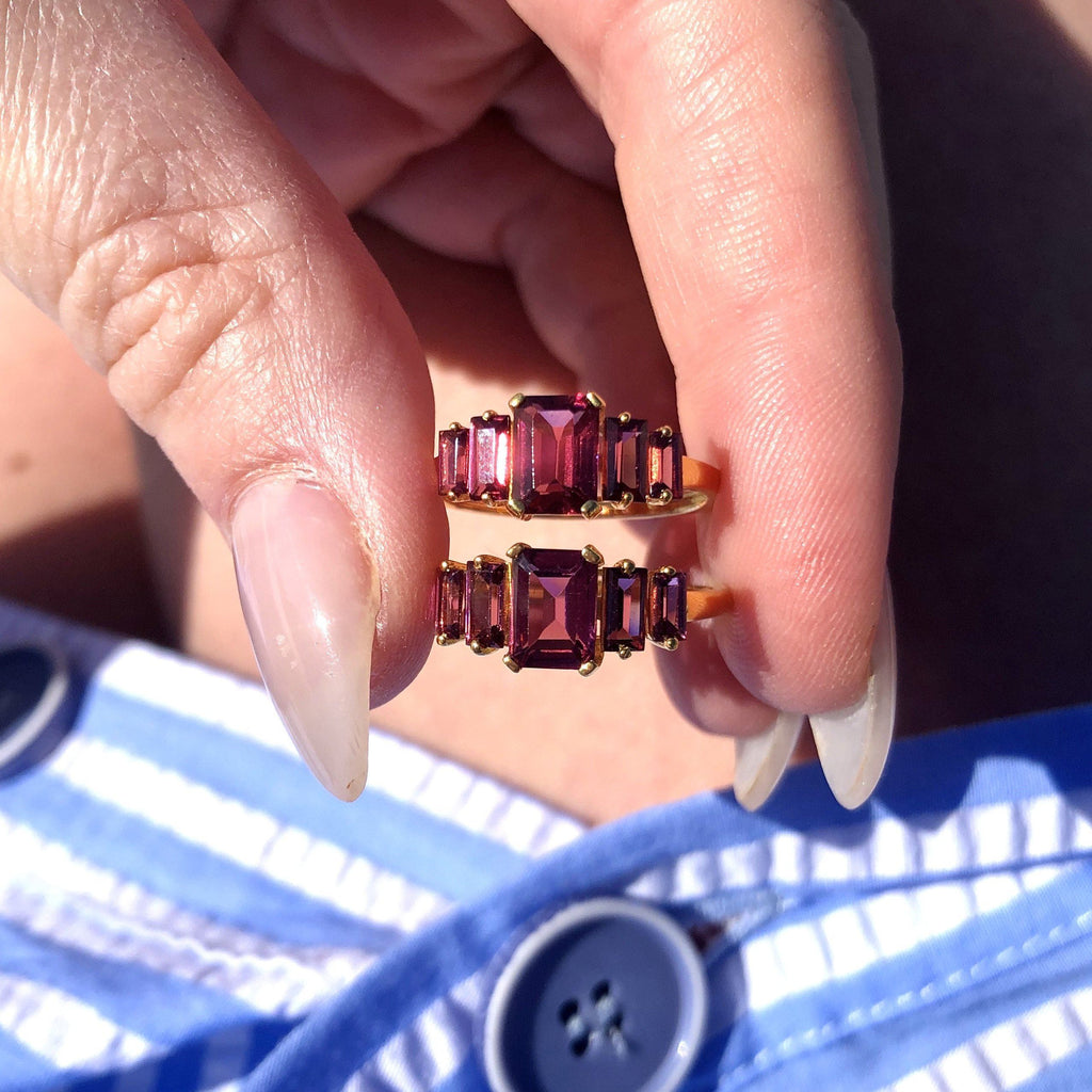 Rhodolite Deco Ring In 9k Solid Gold