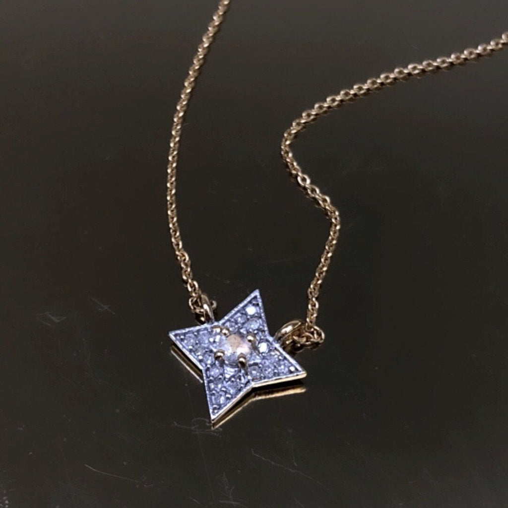 9K Solid Gold Mini Pave Star Necklace in Labradorite & Diamonds Necklace Dwarkas