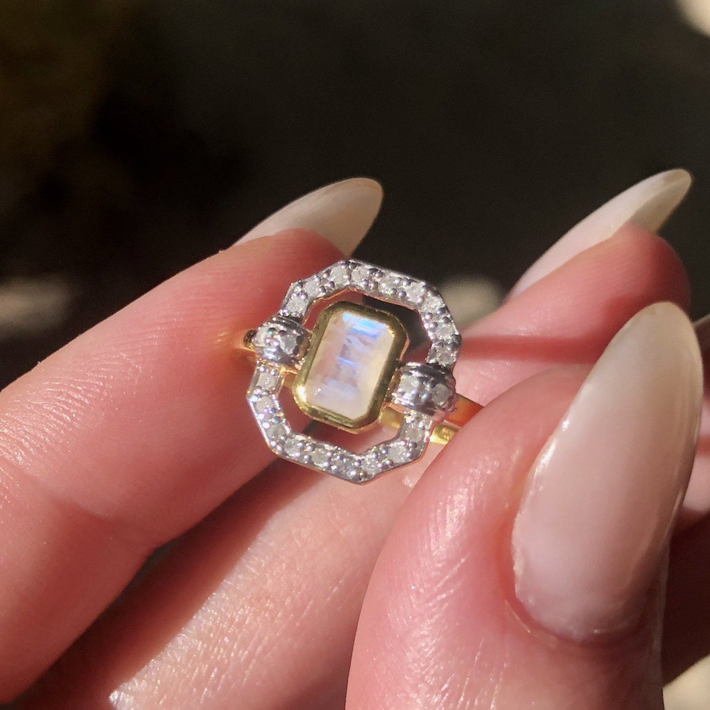 14k Gold Vermeil Ethereal Ring in Moonstone & Diamond Ring PINK CITY