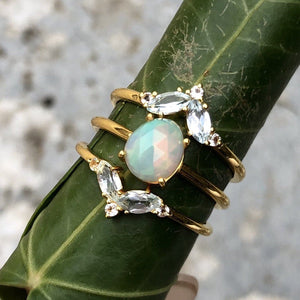 14k Gold Vermeil Blue & White Topaz Galactic Ring