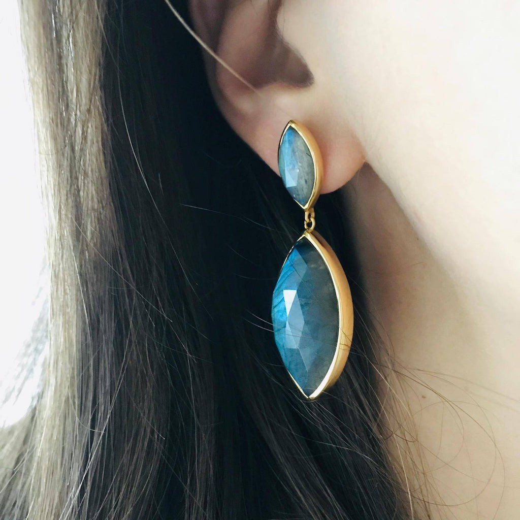 14k Gold Vermeil Marquise Statement Earrings in Labradorite  earrings, Gold, Labradorite, over-80, Semi Precious, Statement