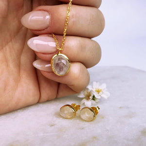 14k Gold Vermeil Semi Precious Stone Pendant & Earring Set in Moonstone  Gold, Moonstone, necklace, Necklace Set, New In, over-80