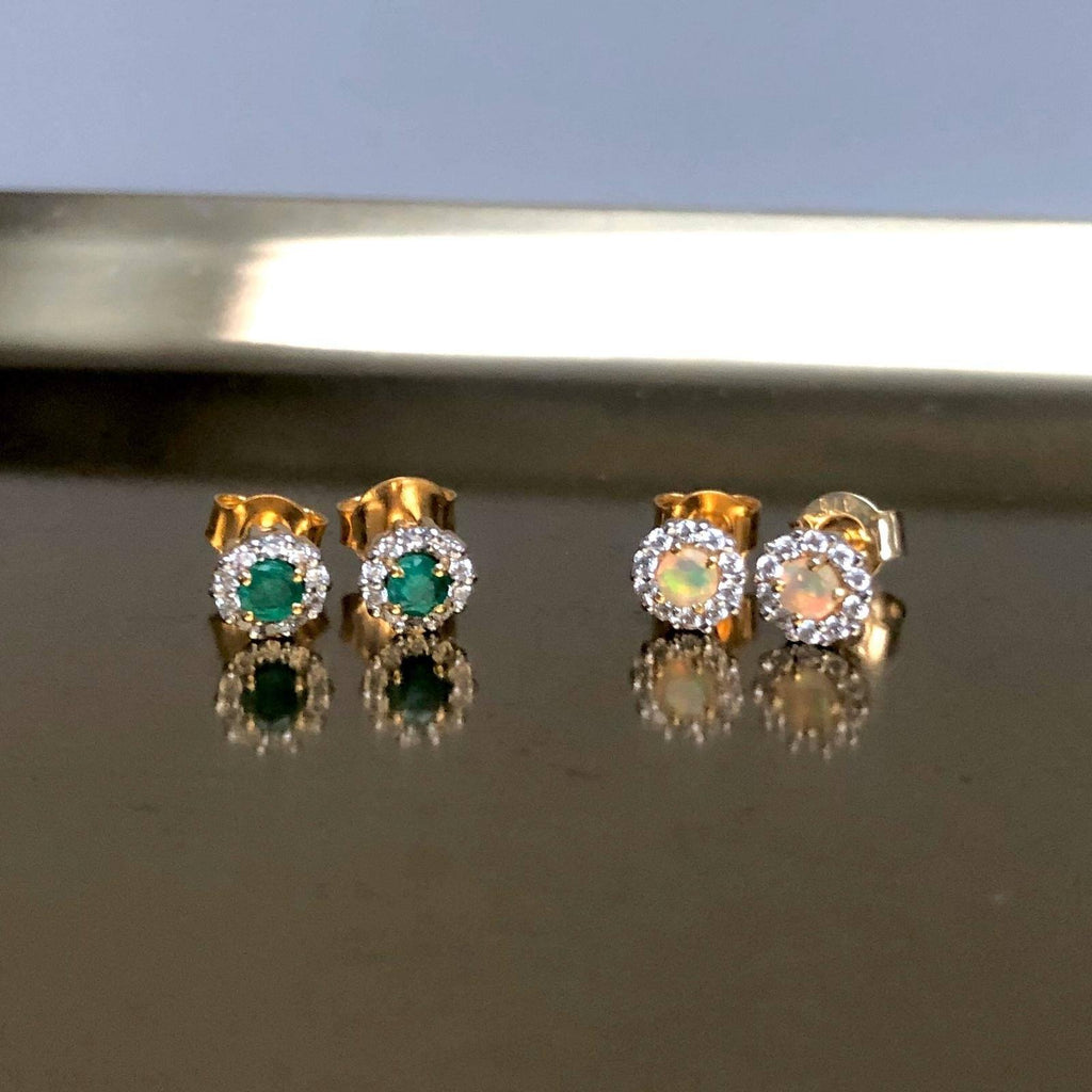 14k Gold Vermeil Emerald & CZ Stud Earrings Earrings Dwarkas