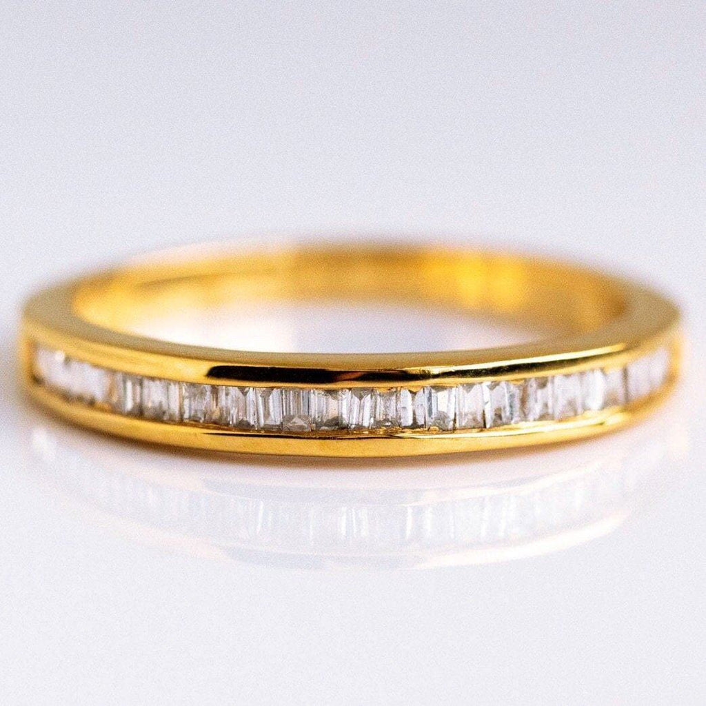 14k Solid Gold Baguette Cut Diamond Band Ring VJI