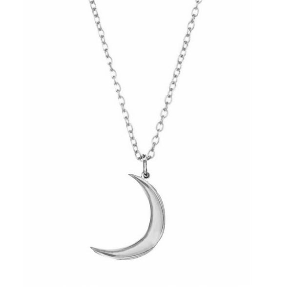 Sterling Silver New Moon Pendant Necklace Dwarkas Silver