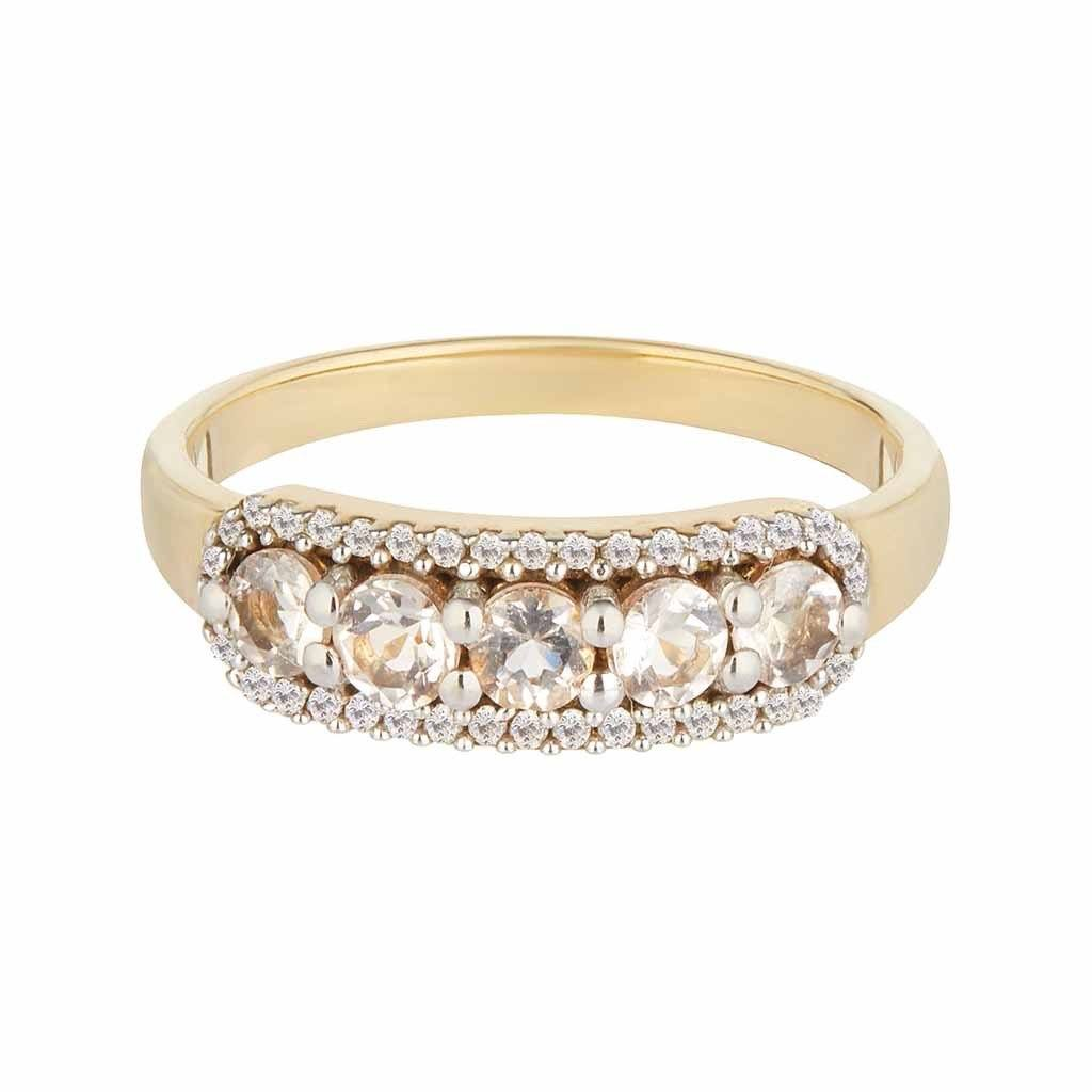 Stella Morganite & Diamond Band In 9K Solid Yellow Gold