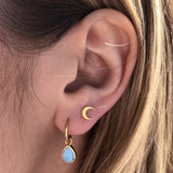 14k Gold Vermeil Semi Precious Drop Hoop Earring in Larimar Earrings VJI