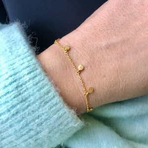 14k Gold Vermeil Mini Hanging Coin Bracelet  bracelet, Gold, New In, under-80