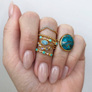 Copper Turquoise Statement Ring In Gold Vermeil