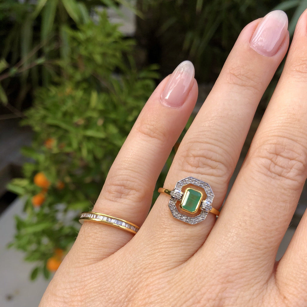 9k Solid Gold Ethereal Diamond Halo Ring in Emerald Ring PINK CITY