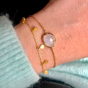 14k Gold Vermeil Semi Precious Stone Bracelet in Moonstone  bracelet, bride, Bridesmaid, Gold, metal-14k-gold, Moonstone, Organic, over-80, Semi Precious