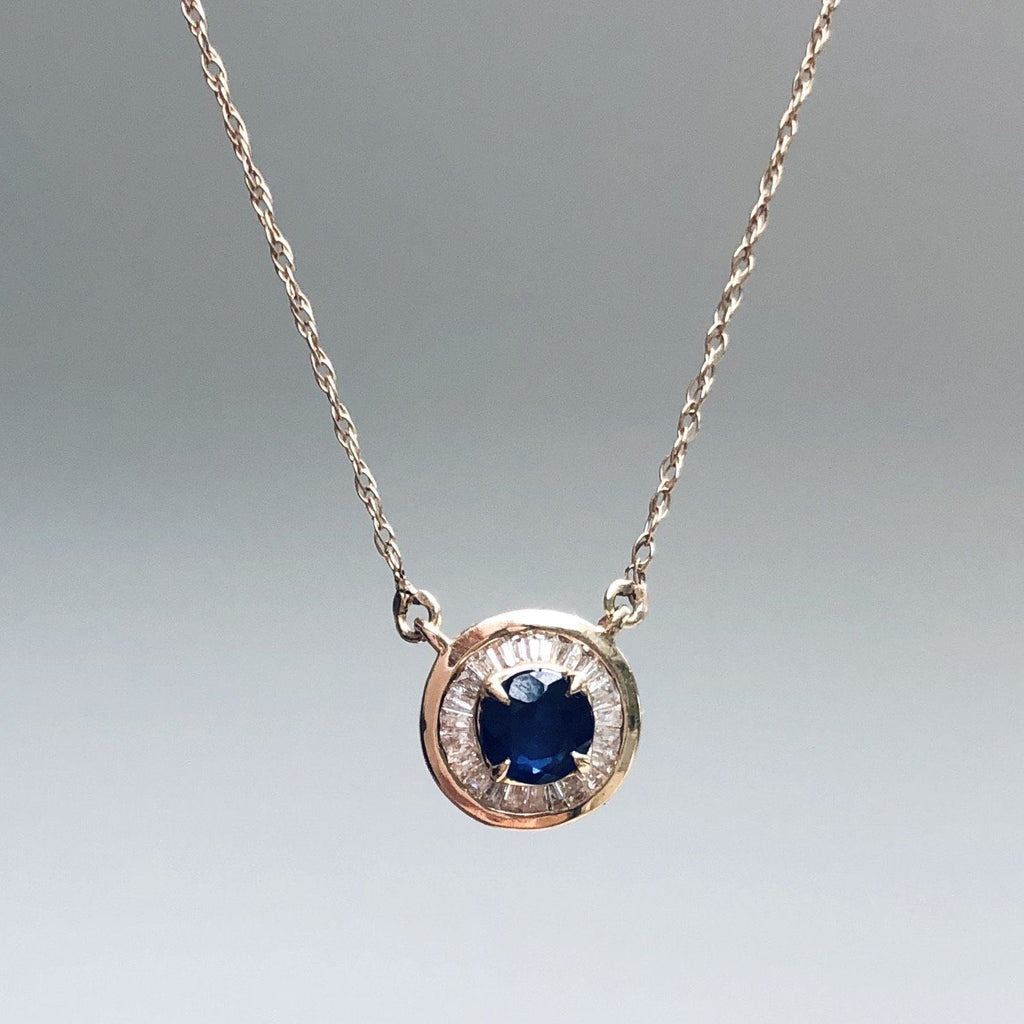 9k Solid Gold Evil Eye in Sapphire & Baguette Diamonds Necklace VJI