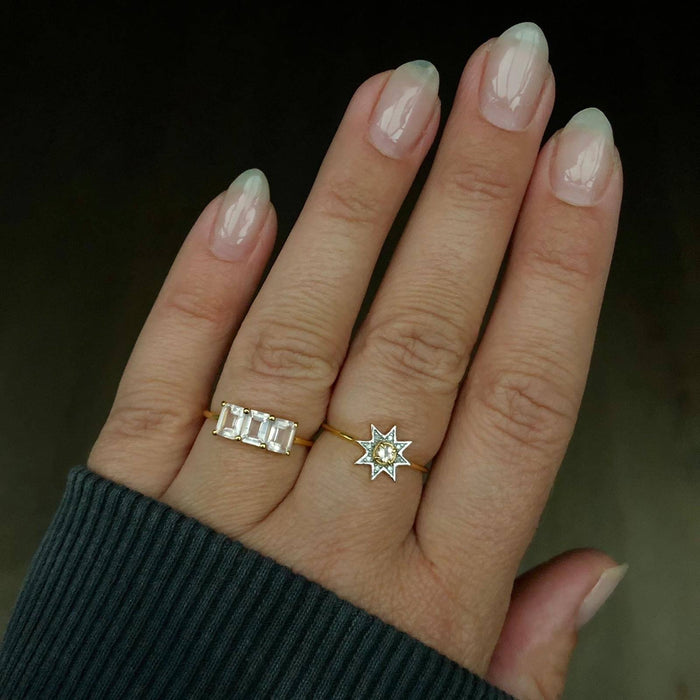 9k Solid Gold Deco Emerald Cut Ring in Rose Quartz