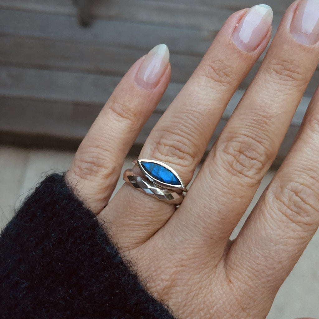 Sterling Silver Contemporary Stacking Ring in Labradorite Ring Pink City
