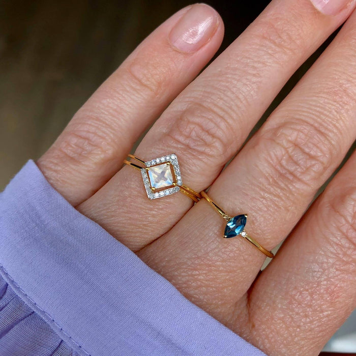 14k Gold Vermeil Dainty Marquise Ring in London Blue Topaz & Diamond Ring Dwarkas